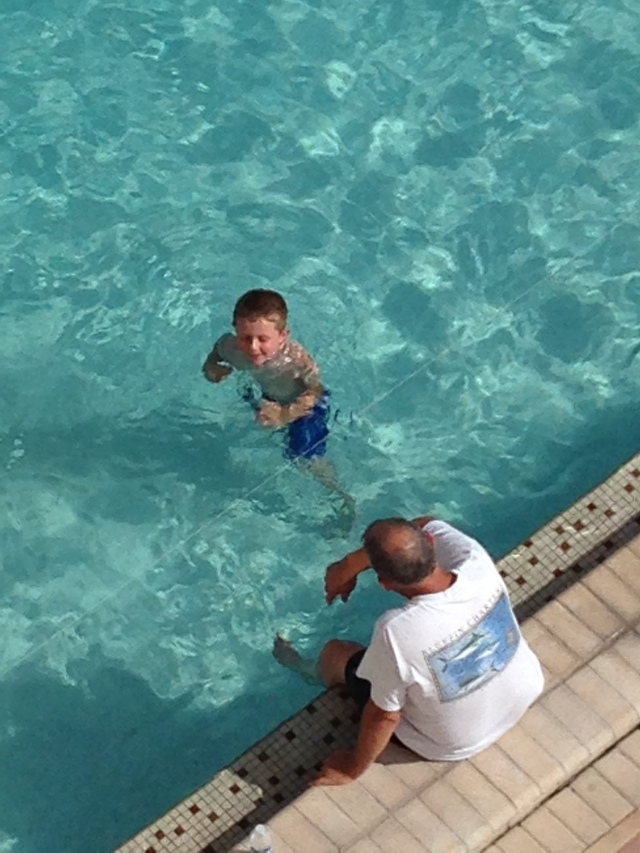 Brayden at one of his morning swims with Grampy --sorry dad.