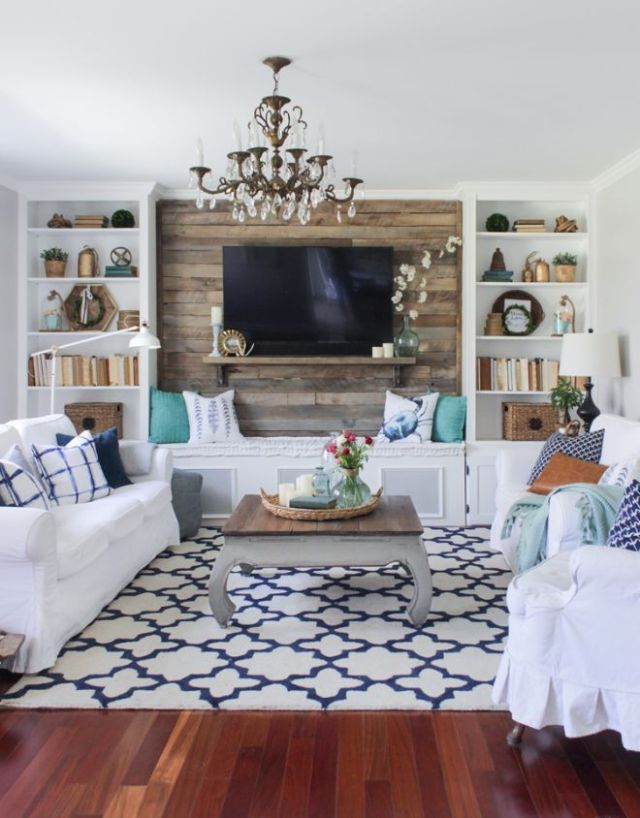 Shiplap wall living room